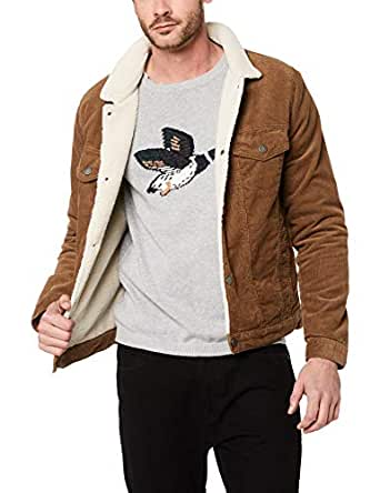 French Connection Men's Cord Sherpa Jacket, Camel, Medium