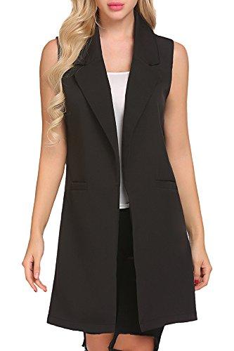 Qearl Women Open Lapel Sleeveless Slim Waistcoat Long Suit Vest Duster Blazer Jacket (M, Black)