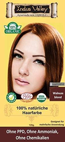 IndoNatura Indus Valley - Tinte para el cabello 100% natural, rubio nogal