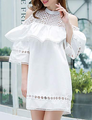 Dress Donna Yfltz White Shift V Neck Da X7P5wqP
