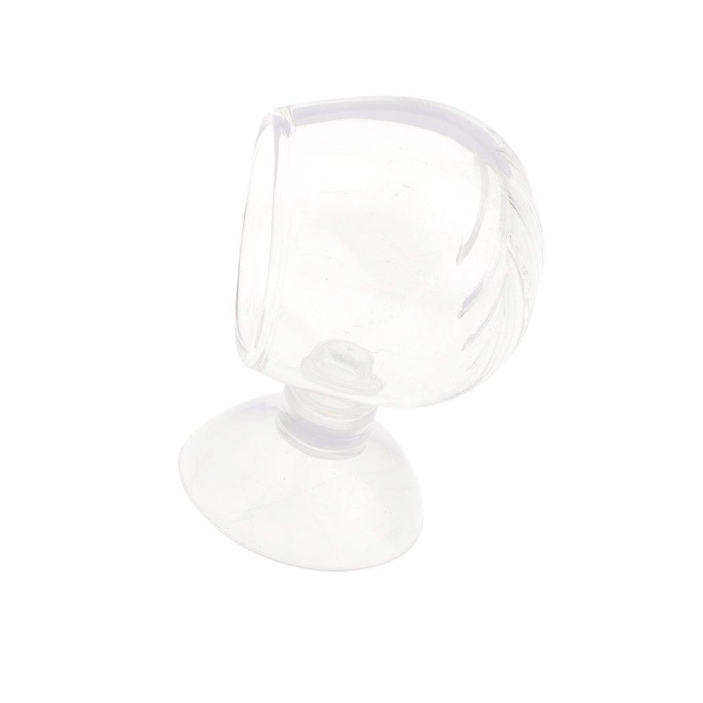 Baoblaze Alimentador de Cristal para Acuario Tanque Vaso de Planta en Maceta Titular de Taza de Camarón de Peces - Agujero