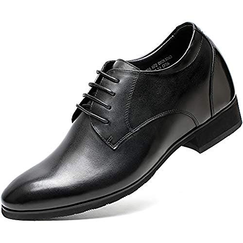 Mens Elevator Dress Shoes - Invisible Height Increasing Elevator Wedding Shoes for Men - Men's Dress Oxfords 3.17 Inches Taller Black