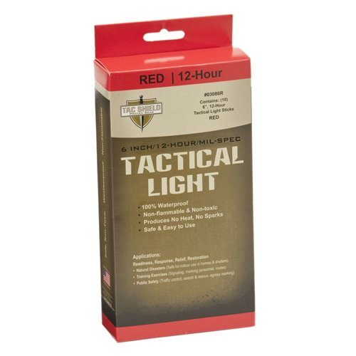 Tac Shield Tactical 12 Hour Light Stick (10-Pack), Red