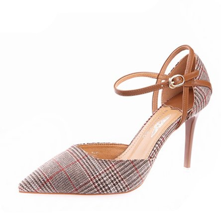 MDRW 36 Temperament Leisure Hollow Ladies Buckle Fine High Khaki Lady Work With Color 9Cm Spring Shoes Pointed Heels A Lattice Elegant xRpxC