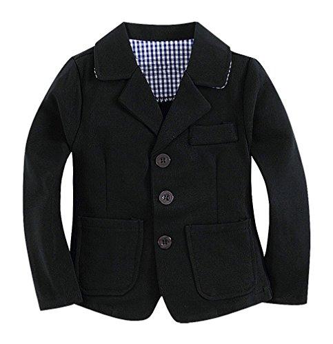 Sweety Baby Boys Solid Color 3 Button Turndown Collar 2 Pocket Cotton Blazer, Black 5T