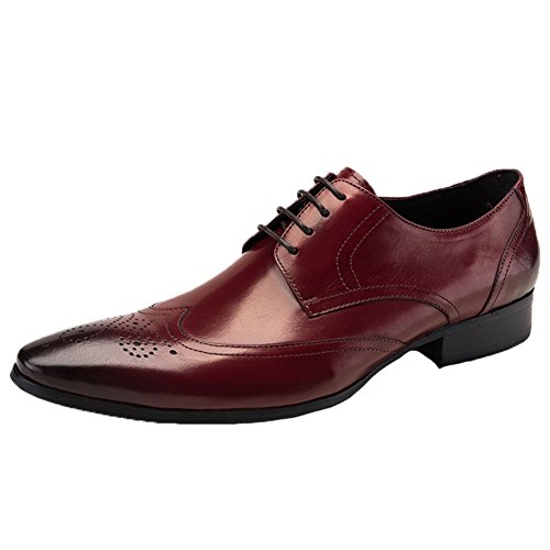 Santimon Mens Oxford Leather Wingtip Brogue Formal Dress Shoes wine red 8 - Ll Bean Watches Mens