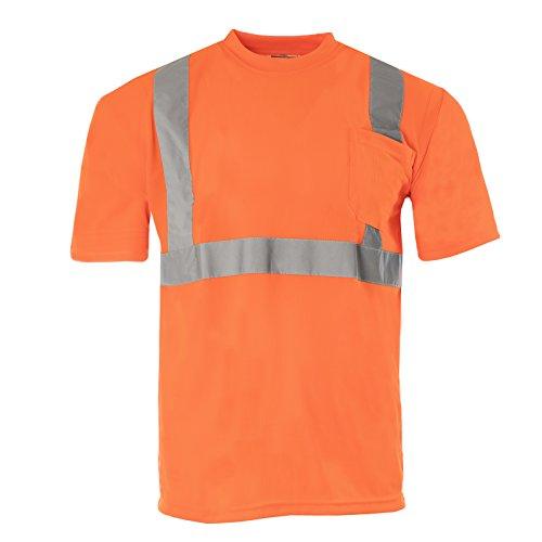 JORESTECH Safety T Shirt Reflective High Visibility Short Sleeve Orange ANSI Class 2 Level 2 Type R TS-07 (Extra Large)