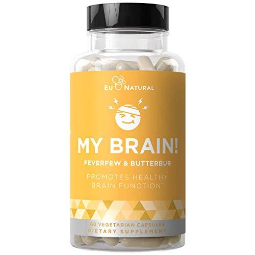 MY BRAIN! Migraine Relief & Headache Vitamins – Sensitivity, Nausea & Auras, Healthy Brain Function for Clear Mind – Fast-acting Magnesium, Butterbur, Feverfew, Vitamin D – 60 Vegetarian Soft Capsules