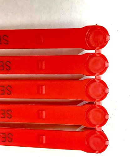 100 Red Plastic Seals Security Numbered - Trucker or Trailer For standard containers truck – vans – doors – airline – duty-free shops – supermarkets – storage-controlling by AVG Packaging Supplies