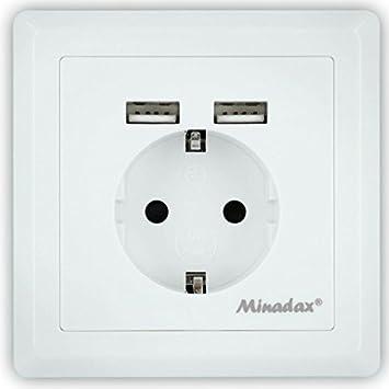 Minadax Schutzkontakt Steckdose 230V 220V mit 2 x USB, Passt in ...