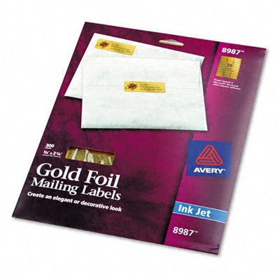 Avery Foil Ink Jet Mailing Labels, 3/4 x 2-1/4in, Gold, 300/Pack