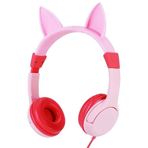 LOMATEE Kinder Kopfhörer Stereo Leichtkopfhörer On-Ear Headset mit Lautstärkebegrenzung, 3.5mm Klinkenstecker, mit Katzenohren für 3+ Jahre Mädchen rosa