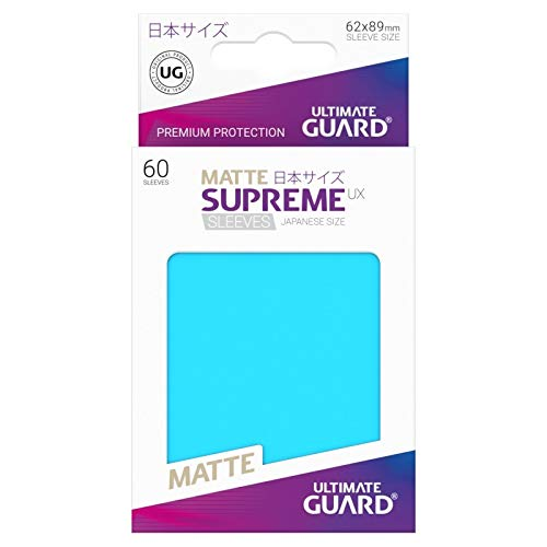 10 Packs Ultimate Guard Light Blue Supreme UX Japanese Size Matte Sleeves Standard Size 60 ct Card Sleeves Display Case