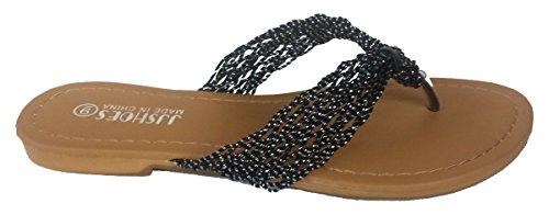 Comfncy Elegante Damesmode Casual String Platte Sandalen Zwart