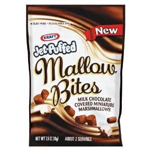 Kraft Jet Puffed Mallow Bites, Milk Chocolate, 2.5oz Bag (Pack of 10)