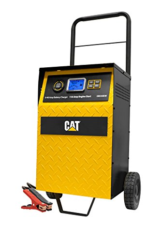 CAT CBC40EW Fully Automatic 40 Amp 12V Rolling Battery Charger/Maintainer with 110A Engine Start, Alternator Check, Cable Clamps