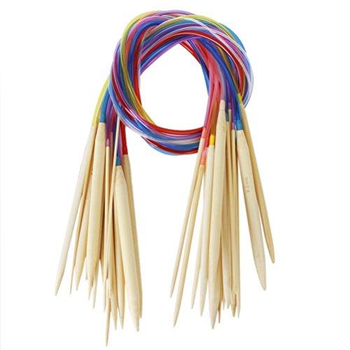 Tinksky 18 Paare 80cm Bambus Stricknadeln häkeln Nadeln (2.0 mm bis 10 mm)