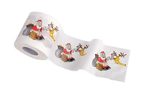 Novelty Toilet Paper (1 Roll of Merry Christmas Santa Claus Toilet Paper Tissue Napkin Prank Fun Birthday Party Novelty Gift Idea)
