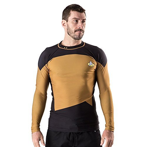 Star Trek Men's Fusion Fight Gear The Next Generation Rash Guard, Gold, Medium