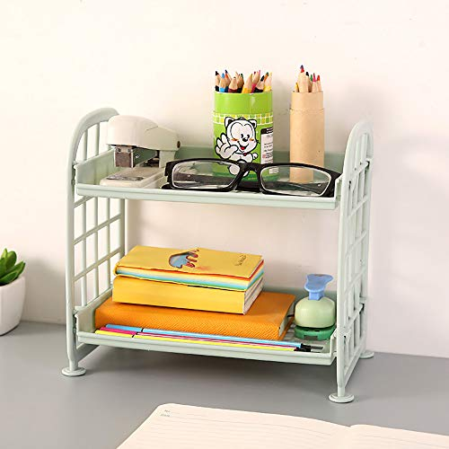 Hot Sale!DEESEE(TM)Double Table Top Shelf Cosmetic Storage Rack Kitchen Storage Rack (Green)