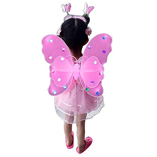 Weixinbuy Girls Butterfly Fairy Wings Princess Role Play Costume Birthday Home Garden Festive Party Dress up -