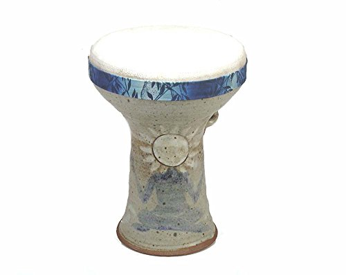Stoneware Doumbek Darbuka Sun God Hand Drum, Goatskin Head by Hawkdancing