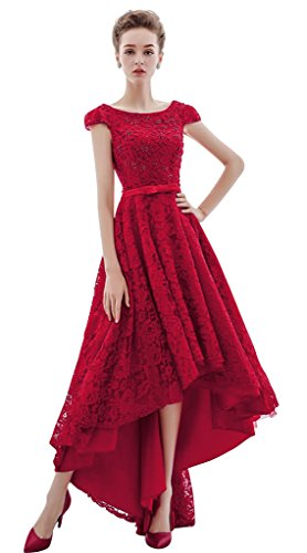 Vimans Girls High Low Sexy Beaded Hot Summer Holiday Dress with Sleeves, (Sexy Hot Red Satin Gloves)