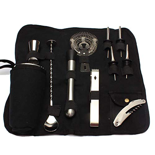 12 PCS Bartender Kit, Portable Stainless Steel Cocktail Bar Tool Set, Cocktail Kit, Bar Accessories, Cocktail Shaker Set with a Black Storage Bag GJB305