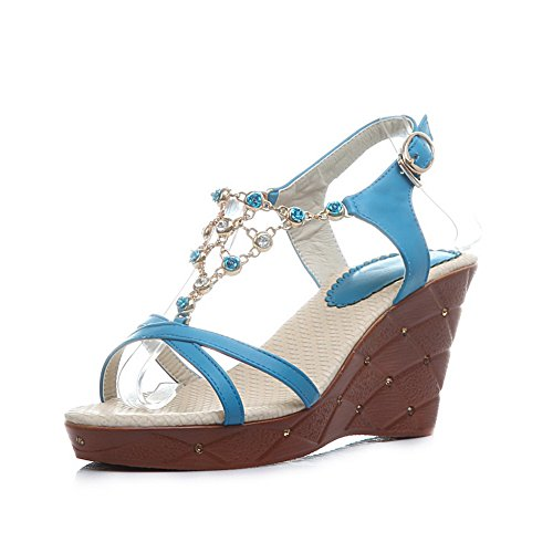 VogueZone009 Womens Open Toe High Heel Wedge Soft Material PU Solid Sandals with Metalornament Blue