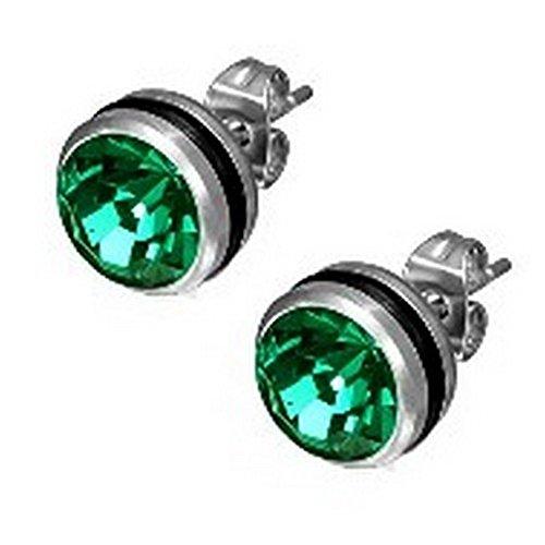 Unisex Stainless 2-Tone Green Stud Earrings (May Birthstone Color) - 10 mm Diameter