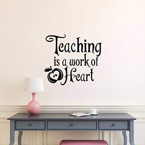 Dalxsh Teaching is A Work of Heart Vinyl Wall Decal Quote School Teacher Appreciation Gift, Teacher Gifts, Teacher Classroom Decor 47x42cm -
