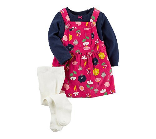 Carter's Baby Girls' 3 Piece Tee & Floral Jumper Set 6 Months ()