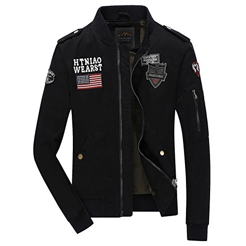 Microfiber Stadium Jacket (H.T.Niao Jacket8526C2 Korean Men 's Casual Jackets(Black,Size XXXXL))