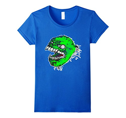 Adult Vintage Monster Costumes (Womens Halloween Vampire Zombie T-Shirt Monster Adult Costume Tee Small Royal Blue)