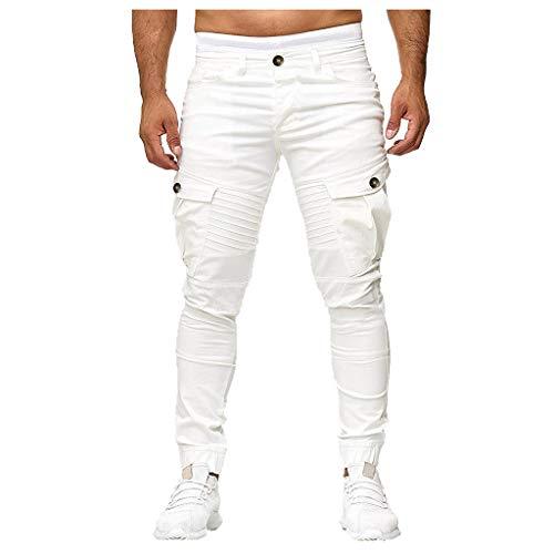 (LEXUPA Men's Pants Fashion Men's Slim Pure Color Casual Sports Woven Pocket Stitching Feet Pants(White,XXX-Large))