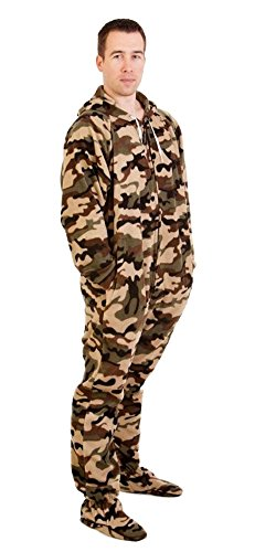 Forever Lazy Footed Adult Onesie - Green Comatose Camo - L