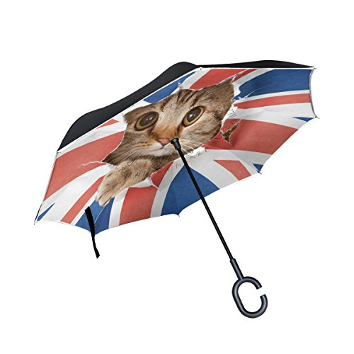 ALAZA Cat Kitten British UK Flag Inverted Umbrella, Large Double Layer Outdoor Rain Sun Car Reversible Umbrella (Sun Patio Umbrella Uk)