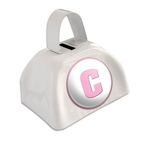 Letter C Initial Baby Girl Block Font Pink Shower White Cowbell Cow Bell ()
