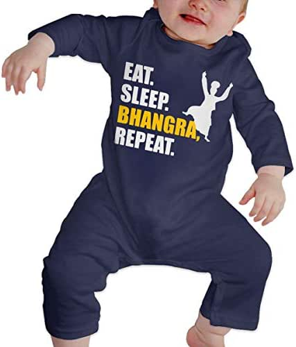 SUMMER-SEVEN Baby Girls Eat Sleep Bhangra Repeat Soft & Breathable Bodysuit Romper Jumpsuit