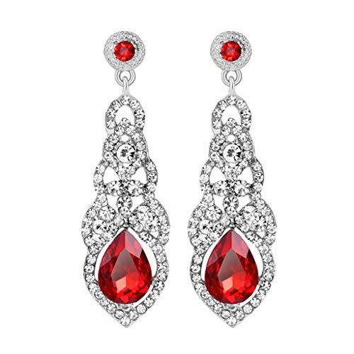 Londony◈ Women's Girls Handpicked Crystal Teardrop Dangle Hook Earrings Hypoallergenic Jewelry Stud Hoop Earrings