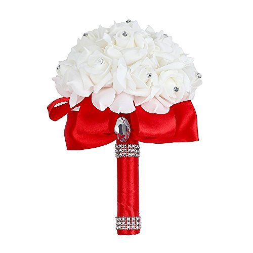 Wedding Bouquet, Febou Big Size Red Bridesmaid Bouquet Bridal Bouquet with Crystals Soft Ribbons, Artificial Rose Flowers for Wedding, Party and Church (Red Big -