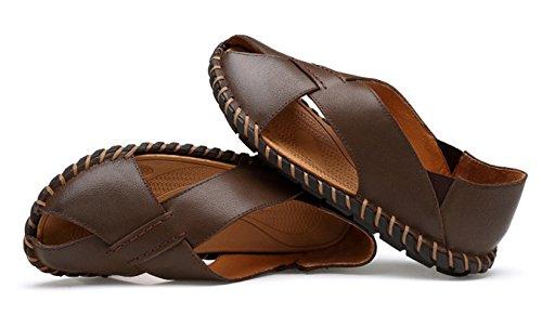 ICEGREY Herren Sandalen Trekking Pantoletten Freizeit Hausschuhe Sandalen Outdoor Sommer Strand Pantolette Schuhe Braun 39