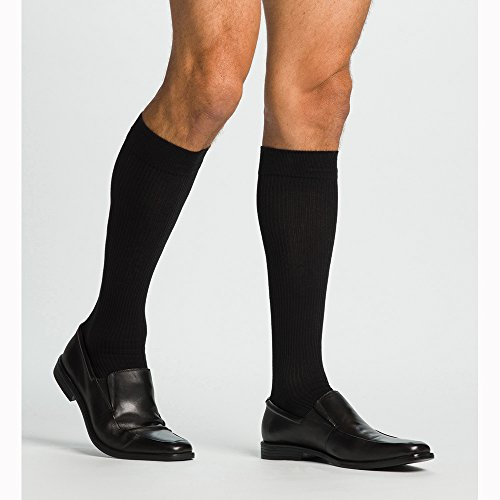 Sigvaris 186CC99 Casual Cotton 15-20mmHg Closed Toe Men's Knee High Sock Size: C (11.5-14), Color: Black 99