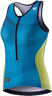 MY KILOMETRE Womens Tri Singlet Racerback Tri Tank Performance Triathlon Top with Back Pockets