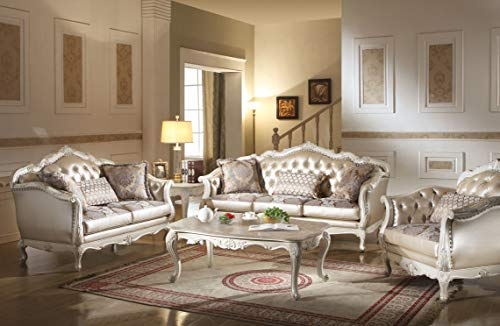 ACME Chantelle Rose Gold and Pearl White Loveseat with 3 Pillows