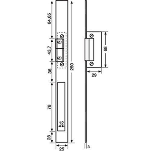 T/ür/öffner T/ürsummer 8-12V mit 250mm Beschlag aus Edelstahl