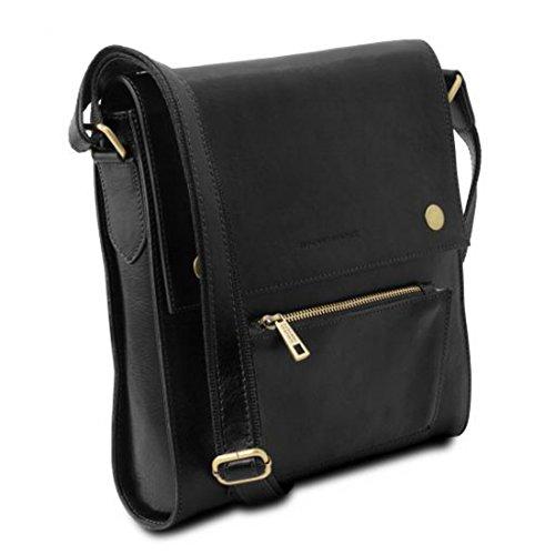 Leather piel hombre delantero Bolso Negro para con Tuscany Oliver bolsillo en Negro TL141656 qSCdIgw