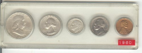 1960 BIRTH YEAR COIN SET-5 COINS TOTAL-HALF DOLLAR, QUARTER,DIME,NICKEL,AND CENT ALL DATED 1960 AND DISPLAYED IN A PLASTIC HOLDER--NOTE--THESE COINS WILL BE AS GOOD OR BETTER THEN THE PICTURE--NOTHING LESS