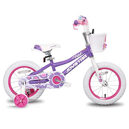 JOYSTAR 14 inch Kids Bike for 3 4 5 Years Girls, Child Bicycle with Training Wheels & Basket & Streamer, Purple Toddler Cycle