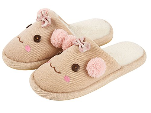 Cattior Womens Cute Indoor Warm Funny Slippers Huis Slippers Roze